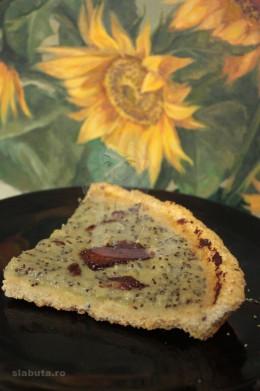 tarta kiwi fara zahar felie 260x391 Tarta, fara zahar, (din aluat macerat 24 ore) cu piure de kiwi si glazura de ciocolata amara Slabuta